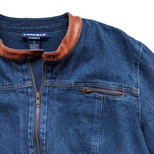 Vintage Forenza Jean Jacket Faux Leather Collar